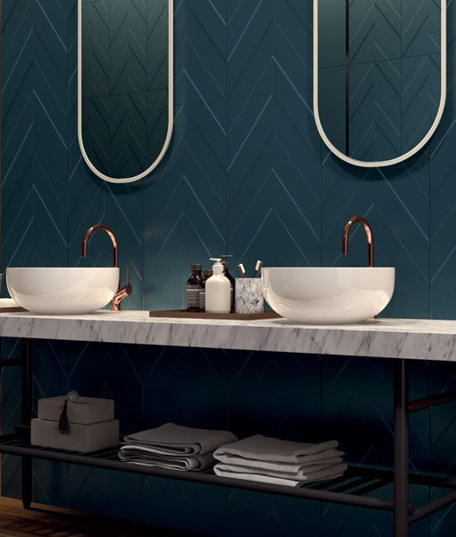 4D Chevron Deep Blue Bathroom Wall