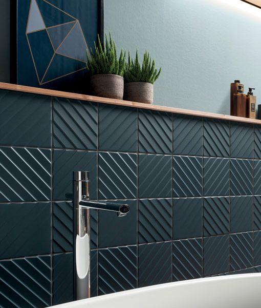 4D Diagonal Deep Blue Bathroom Wall