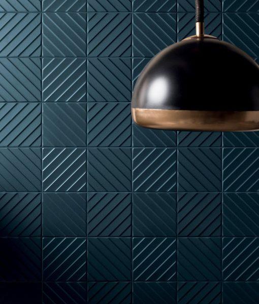 4D Diagonal Deep Blue Wall