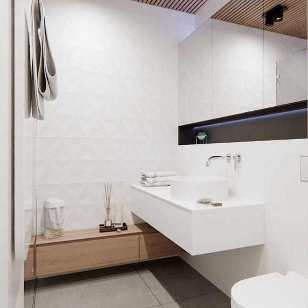 4D Diamond White Bathroom Wall