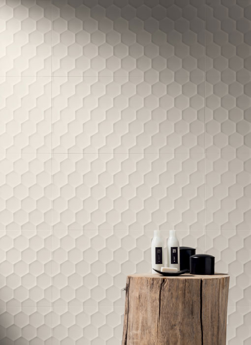 4D Hexagon Field White Wall