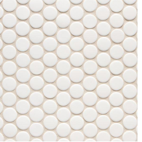 6th Avenue Round Mosaic (White Gloss)