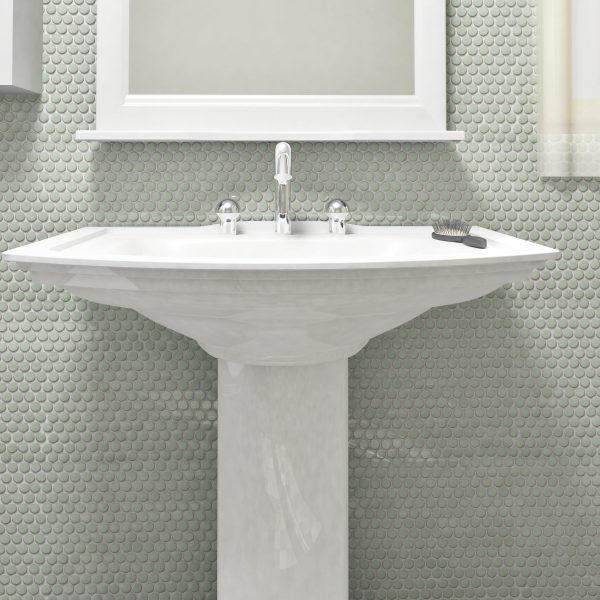 6th Avenue Round Mosaic in French Clay Bathroom Wall