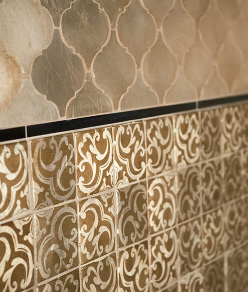 Arabesco Silver Leaf Field with Xilo Bronze Accent Strip and Sevilla Pattern in Silver Leaf