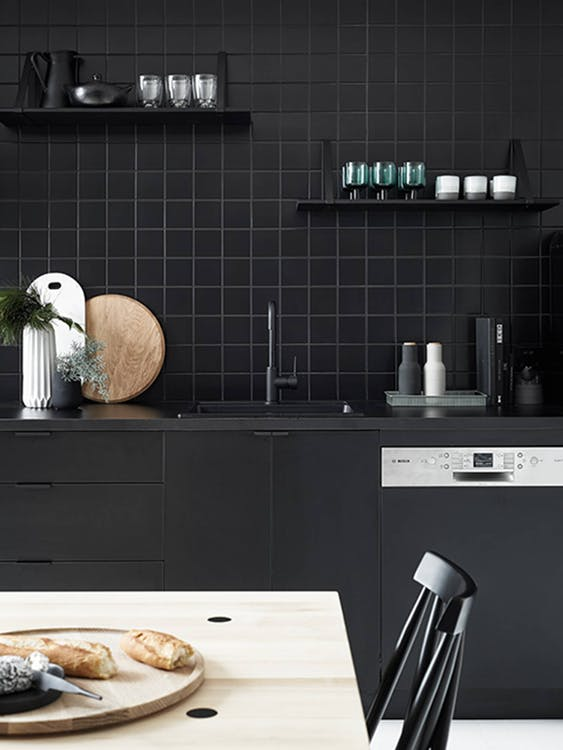 Ellington Square Field Ebony Kitchen Splashback