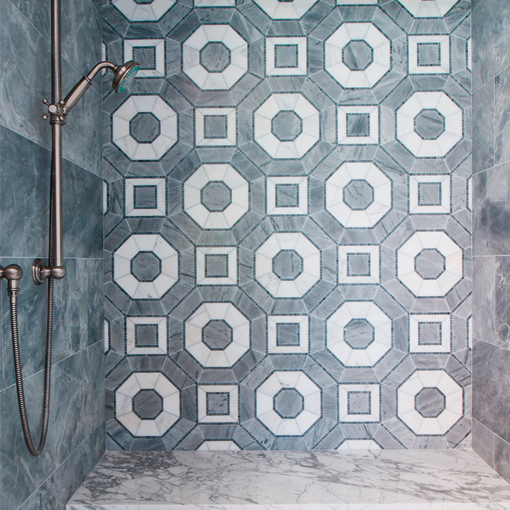 Feature Image Palmero in Grigio feature wall with Lucca Roma Pattern on the floor for His Bathroom at the Pasadena Showcase House 2016 by Ederra Design