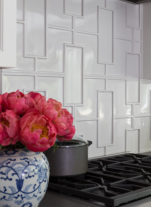 Fretwork Pattern in Ecru. Closup Kitchen designed by Leslie Harris-Keane, photo by David Duncan-Livingston