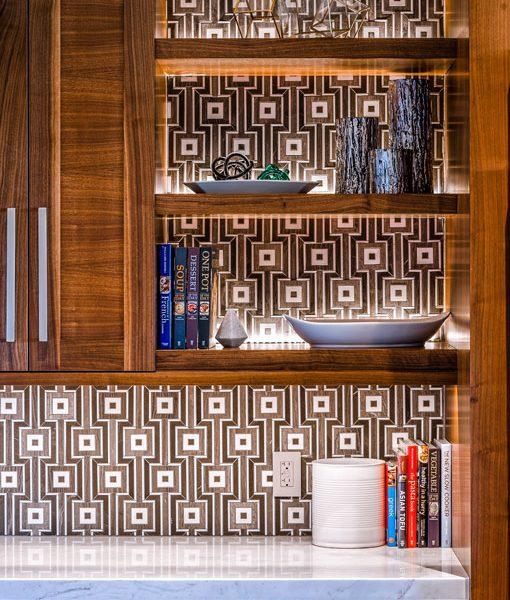 Globetrotter backsplash in Caffe Bruno designed by Alder & Tweed Home Outfitters