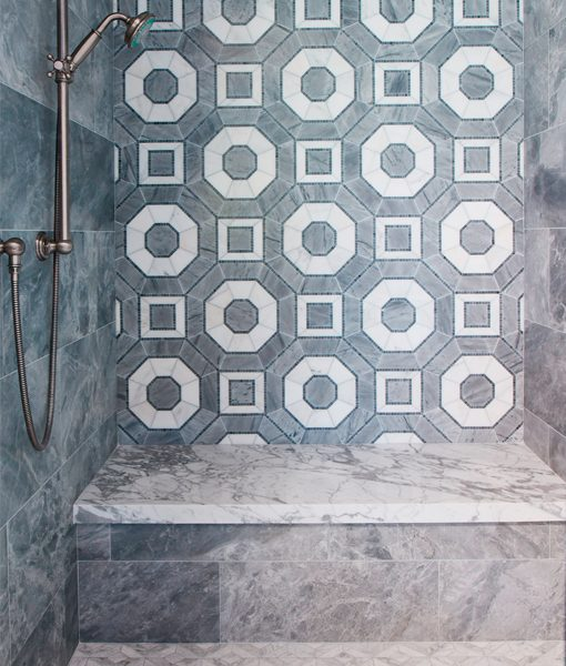 Palmero in Grigio feature wall with Lucca Roma Pattern on the floor for His Bathroom at the Pasadena Showcase House 2016 by Ederra Design