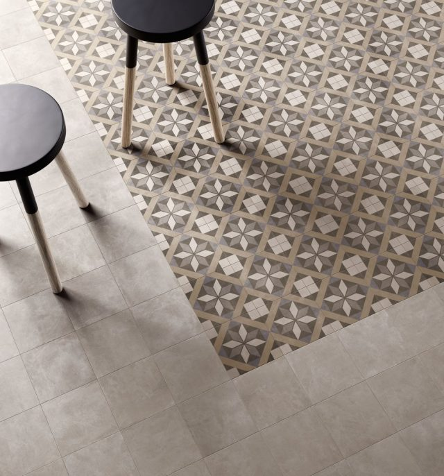 Retro Diamond Blue & Retro Crema Floor