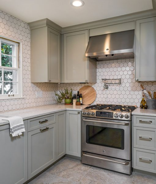 Shingle in Snow Matte, kitchen designed by Refined House