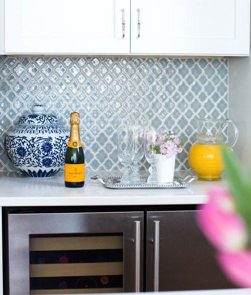 Vibe Moroccan Mosaic in Blue Shadow. Kitchen designed by Debra Zinn Interiors