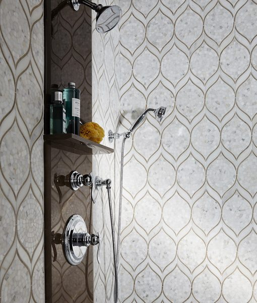 Zephyr Pattern in Calacata Shower Wall